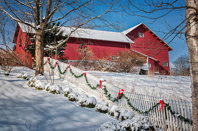 Holiday Cheer - Southbury Connecticut Barn Print by Thomas Schoeller