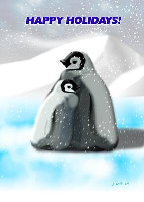 Penguin Digital Art - Holiday Greeting Card Cute Penguins by John Wills