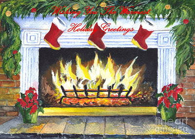Joyful Drawing - Holiday Greetings Fireplace by Carol Wisniewski