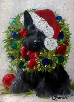 Scottish Dog Painting - Holiday by Mary Sparrow