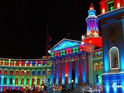 Holiday Lights 2012 Denver City And County Building C5 Print by Feile Case