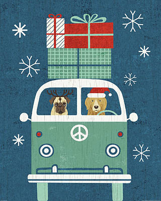 Animal Christmas Painting - Holiday On Wheels Xii Navy by Michael Mullan