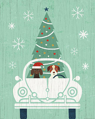 Animal Christmas Painting - Holiday On Wheels Xiii by Michael Mullan