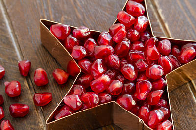 Holiday Pomegranate Seeds Print by Teri Virbickis