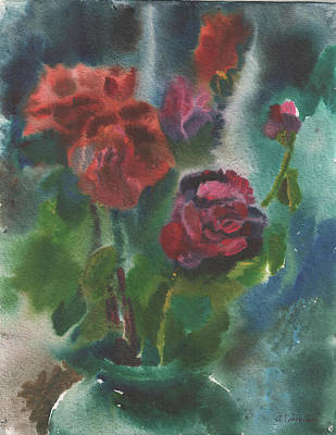 Holiday Roses Print by Anna Lobovikov-Katz