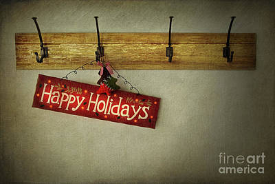 Invitations Photograph - Holiday Sign On Antique Plaster Wall by Sandra Cunningham