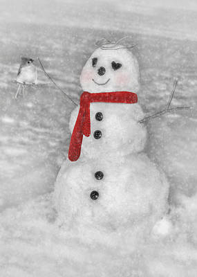 Titmouse Digital Art - Holiday Snowman by Lori Deiter
