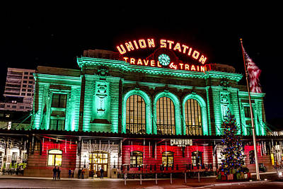 Train In The Winter Photograph - Holiday Union Station In Denver Co by Teri Virbickis
