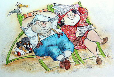 Fat Dog Photograph - Holidays On The Beach Pen & Ink And Wc On Paper by Maylee Christie