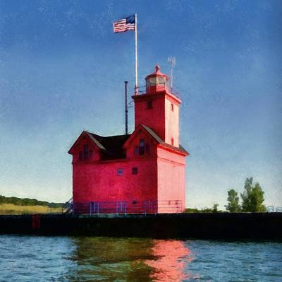 Holland Harbor Light From The Channel Print by Michelle Calkins
