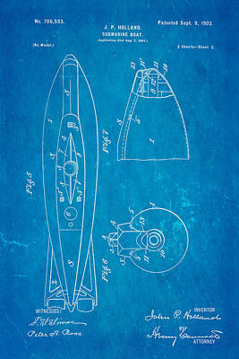 Holland Submarine Patent  Art 2 1902 Blueprint Print by Ian Monk