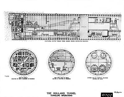 Holland Tunnel Construction Print by Underwood Archives