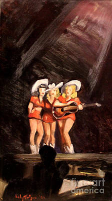 Holloywood Cowgirls On Stage  1940 Print by Art By Tolpo Collection
