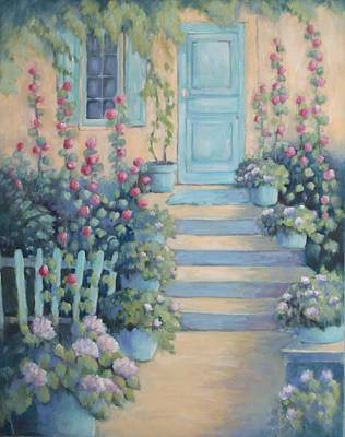 Holly Hocks Painting - Holly Hock Cottage by Linda  Wissler