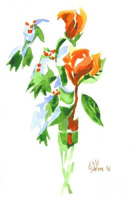 Interior Still Life Painting - Holly With Red Roses In A Vase by Kip DeVore