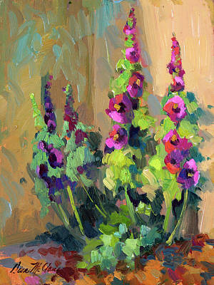 Hollyhocks At Giverny Print by Diane McClary