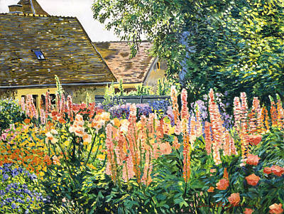Hollyhocks Garden Print by David Lloyd Glover
