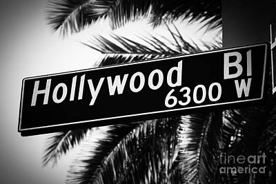 Movies Photograph - Hollywood Boulevard Street Sign In Black And White by Paul Velgos