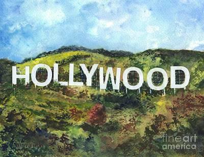 Beverly Hills Drawing - Hollywood by Carol Wisniewski