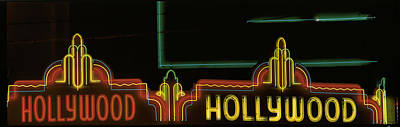 On Location Photograph - Hollywood Neon Sign Los Angeles Ca by Panoramic Images