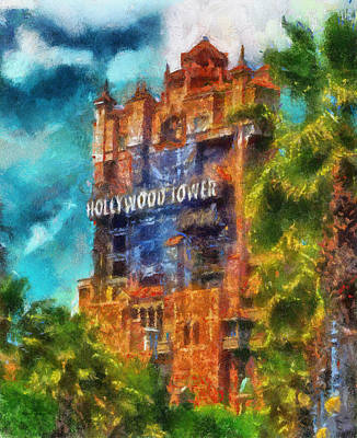 Merchandise Mixed Media - Hollywood Tower Hotel Wdw Photo Art 03 by Thomas Woolworth