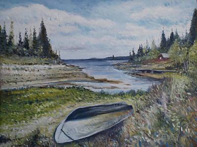 Painting - Holmsund Lighthouse Vasterbotten Sweden by Enver Larney