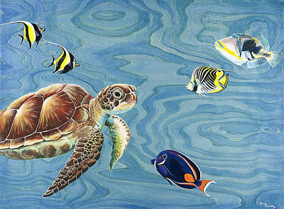 Hawaii Sea Turtle Painting - Holoholo Sea Turtle by Emily Brantley