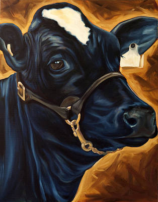 Cow Painting - Holstein Portrait by Emma Caldwell