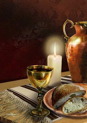 Jewish Table Setting With Bread And Wine Original by Regina Femrite