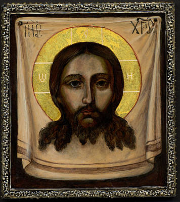 Holy Napkin Painting - Holy Face Image - Not Made By Hands by Fr Barney Deane
