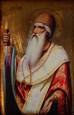 Holy Hierarch St. Spyridon Of Tremithus Print by Claud Religious Art