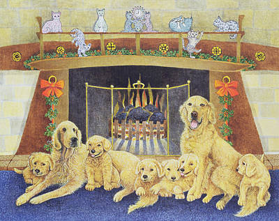 Golden Retriever Puppy Photograph - Home And Hearth by Pat Scott