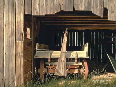 Old Wooden Wagon Painting - Misner's Wagon by Michael Swanson