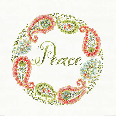 Wreath Painting - Home For The Holidays Wreath Peace by Daphne Brissonnet
