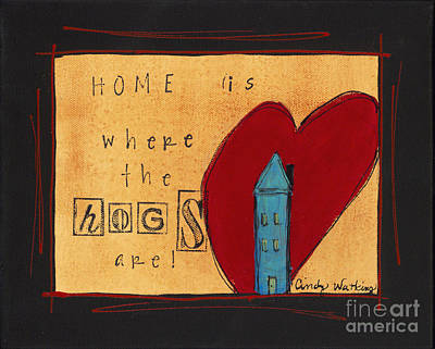 Of A Pig Painting - Home Is Where The Hogs Are 2 by Cindy Watkins