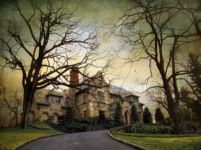 Spooky Digital Art - Home On A Hill by Jessica Jenney