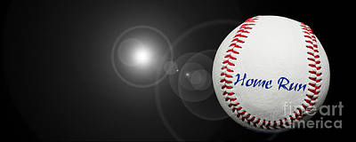 Home Run - Baseball - Sport - Night Game - Panorama Print by Andee Design
