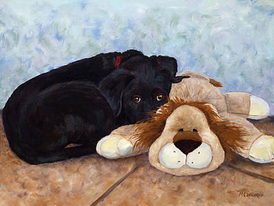 Black Lab Puppy Painting - Home Security by Mary Giacomini