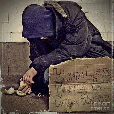 Homeless Please Help Print by Sarah Loft