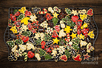 Rack Photograph - Homemade Christmas Cookies by Elena Elisseeva