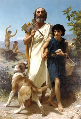 Dog Walking Digital Art - Homer And His Guide by William Bouguereau