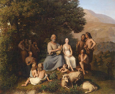 Homer Painting - Homer Sings In The Circle Of Young Greeks by Karl Becker
