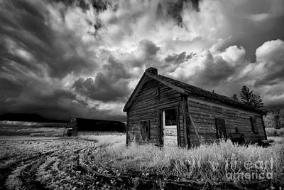 Prairie Storm Photograph - Homestead Under Stormy Sky by Dan Jurak