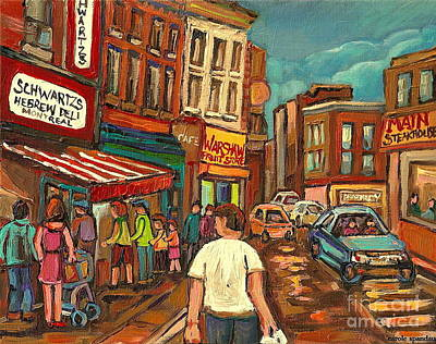 Montreal Cityscenes Painting - Warshaw's On The Main Montreal Memories Bargain Fruit Market Street Scene Paintings Cspandau         by Carole Spandau