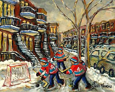 Montreal Cityscenes Painting - Hockey Art Homage To Number 4 And 9 Verdun Boys In New Red Hockey Jerseys Near Staircase            by Carole Spandau