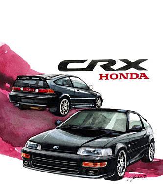 Honda Painting - Honda Crx by Yoshiharu Miyakawa