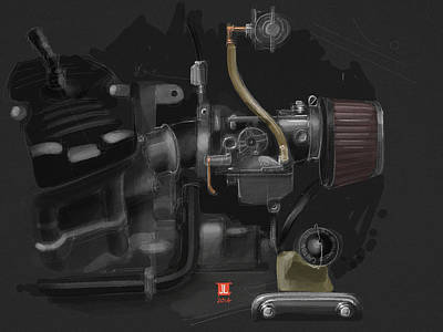 Ipad Drawing - Honda Cx500 Carb by Jeremy Lacy