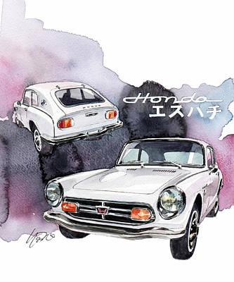 Honda Painting - Honda S800 by Yoshiharu Miyakawa