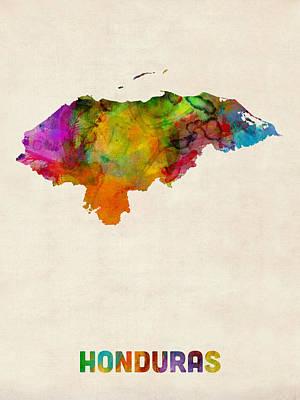 Latin Digital Art - Honduras Watercolor Map by Michael Tompsett