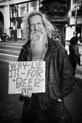 Homeless Photograph - Honesty by Erik Brede